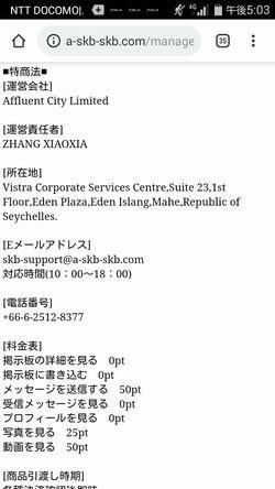 出会い系サイトADULT SKB:特商法表記